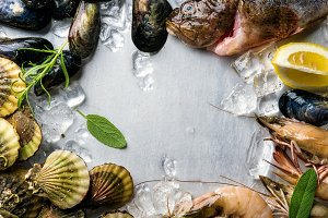 Fresh seafood with herbs and lemon