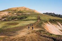 Icelandic landscape with mountain tourist in Landmannalaugar