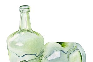 painting by hand watercolour bottles