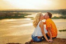 Loving couple. Kiss.