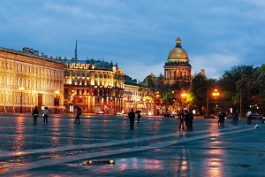 View of  St. Petersburg in Russia. Saint Isaac's Cathedral from the Palace Square at night