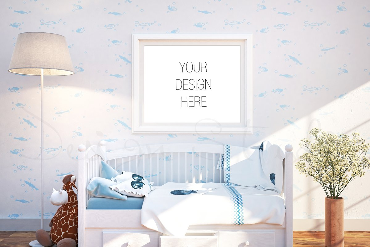Nursery interior frame mockup product mockups Design m living room free