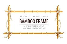 Bamboo frame template for tropical signboard with ropes and copypaste place for text. Vector illustration. Eps10 isolated on white transparent background