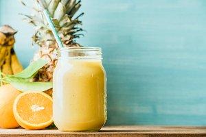 Freshly blended fruit smoothie