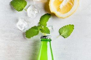 Lemonade bottle with ingredients