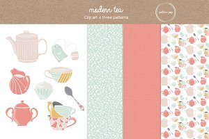 Modern Tea Clip Art and Patterns