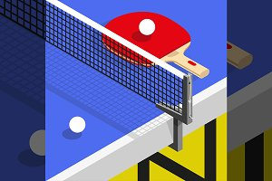 Ping pong still life illustration