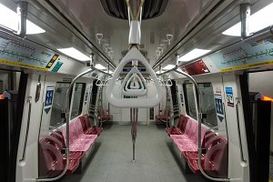 Interior view of a subway car in Singapore metro