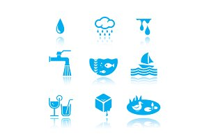 water symbol set