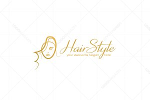 Fashion Girl Hairstyle Logo