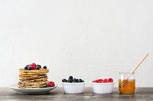 American breakfast. Pancakes