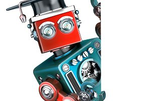 Graduate Vintage Robot with a blank banner. Isolated. Contains clipping path