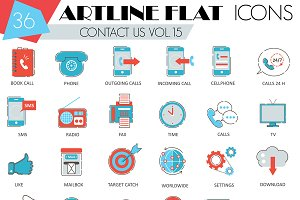 36 Contact us flat line icons set.