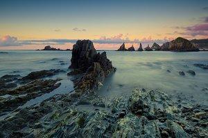 Rocks at sunset, seashore