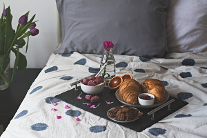 Serving breakfast in bed.