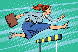 businesswoman running hurdles
