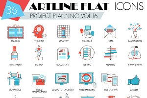 36 Project business planning icons.