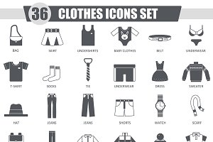 36 Clothes black icons set.