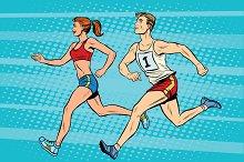 Man woman athletes running
