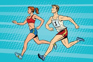 Man woman athletes running