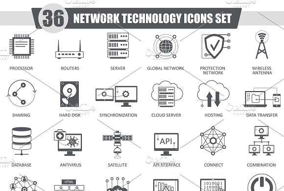36 Network Technology Black Icon Set