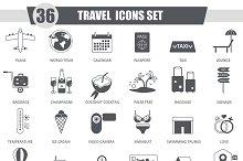36 Travel black icons set.