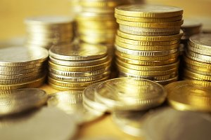 rows of money coins