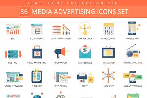 36 Media advertising flat icons set.