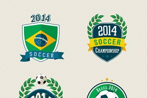 Brazil soccer vintage labels set