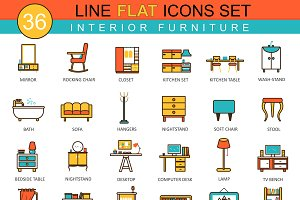 36 Furniture flat line icon set.