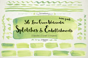 Watercolor Splotches & Decors-Lime