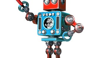 Vintage robot with pen. Isolated. Contains clipping path
