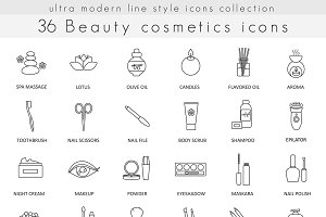 36 Beauty Cosmetics line icons set.