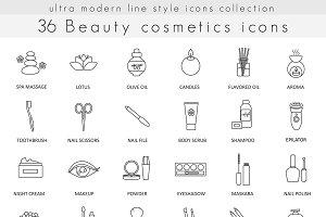36 Beauty Cosmetics line icons set.