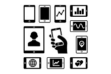 Mobile gadgets icons set