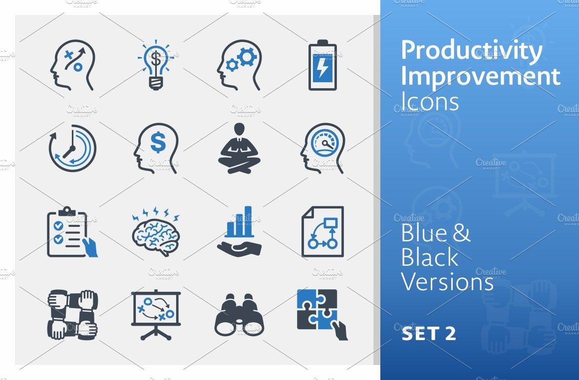 productivity improvement icons 2 icons creative market