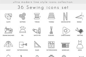 36 Sewing line icons set.