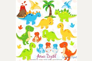 Cute Dinosaur Clipart + Vectors