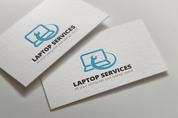 Laptop Repair Services Logo Templates Creative Market - Computer repair business card template