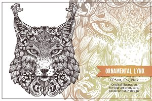 Ornamental Hand Drawn Lynx