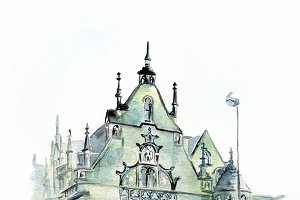 watercolor european cathedral