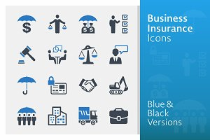 Business Insurance Icons | Blue