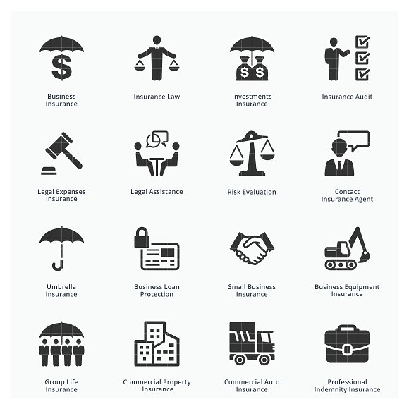 Business Insurance Icons Blue Icons Creative Market