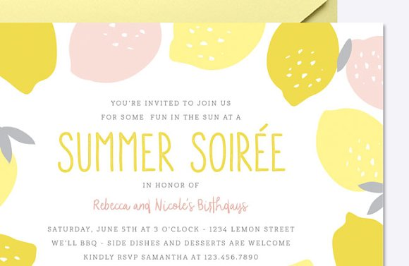 Pink Lemonade Invite Template in Card Templates - product preview 2
