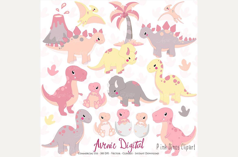 Cute Pink Dinosaur Clipart + Vectors ~ Illustrations ...