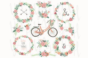 Floral Wreaths Vintage Bicycles