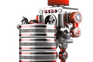 Retro Robot with database. Technology concept. Isolated. Contains clipping path