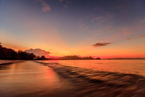 Twilight sunset on tropical beach