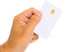 Hand hold blank credit card