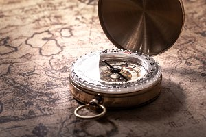 Compass and vintage map
